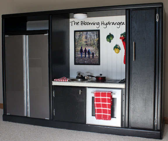 Entertainment Center into a Play Kitchen | Hometalk
