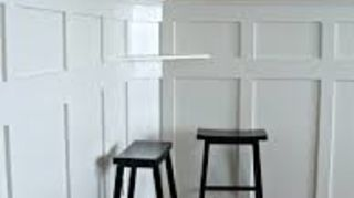 q board and batten height, diy, how to, wall decor, woodworking projects, keep in mind bar stools like the ones shown are generally about 24 high so this would be about a 48 height