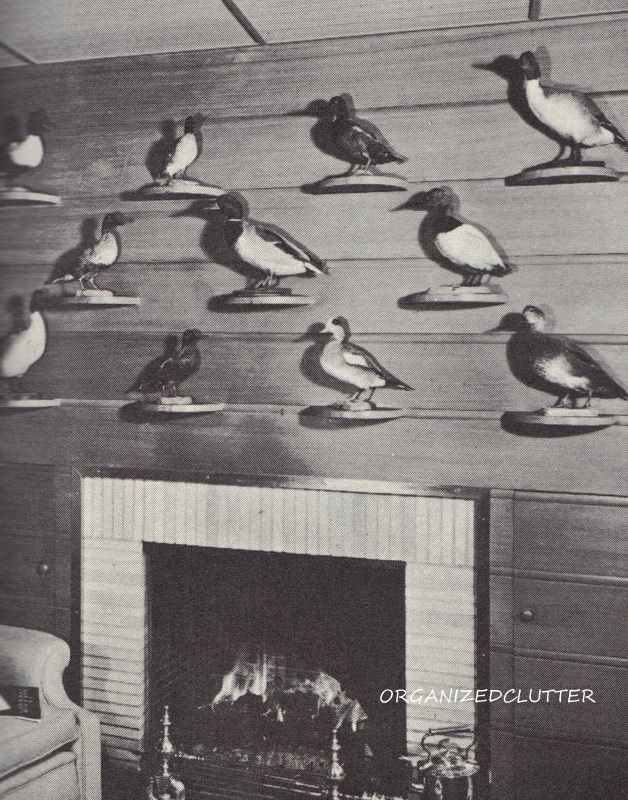 Stuffed ducks in the fireplace ornamentation section of the book.