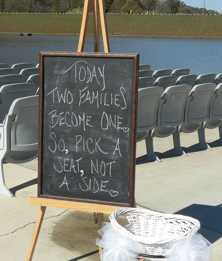 Chalkboard painted sign in lieu of ushers