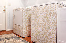 stenciled washer amp dryer, appliances, crafts, laundry rooms, Stenciled Washer Dryer from How to Nest for Less