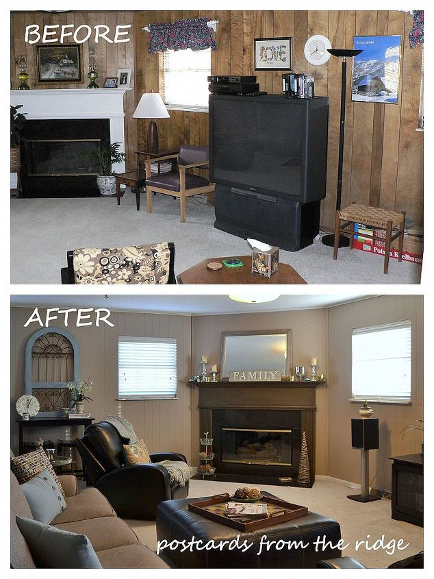 The top portion is how our family room looked before we bought the house.  The bottom shows the transformation after we painted it and added out furnishings and decor.