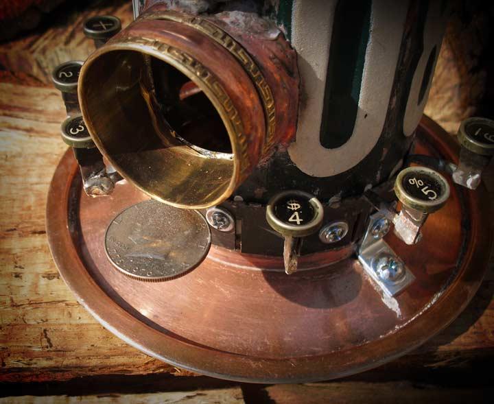 Green License Plate & Typewriter Keys Repurposed Upcycled Metal Birdhouse