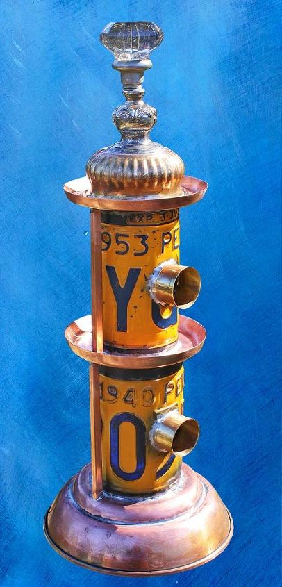 Two-Story Double Duplex Orange, Blue & Copper License Plate Repurposed Upcycled Metal Birdhouse