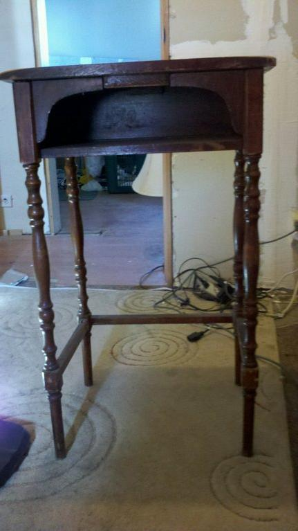 telephone table, painted furniture, Before