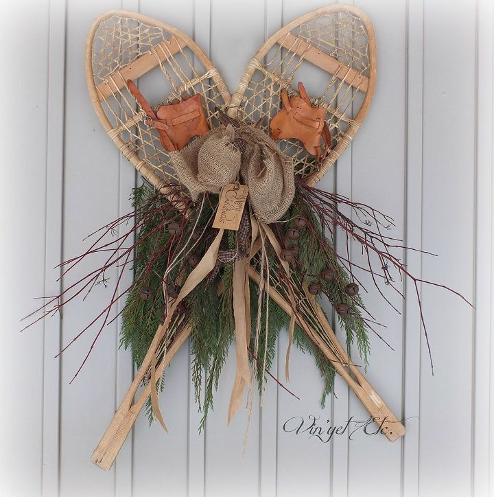 These beautiful snow shoes belonged to my Grandmother. I love them and love how my very first swag turned out, using them.