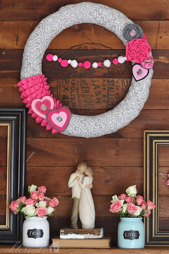 It's so fun decorating with elements that you already have and combining them with a few new handmade items to decorate for various holidays. I love Valentine's Day!