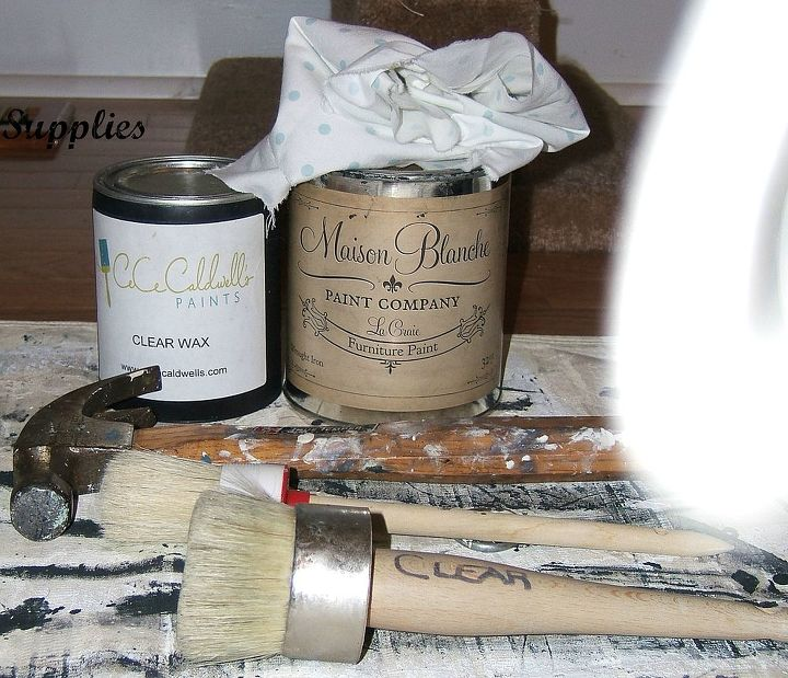 I am not being compensated by these products. These are the supplies I chose. Maison Blanche, Wrought Iron chalk paint. CeCe Caldwell's clear wax and Annie Sloan's brushes.