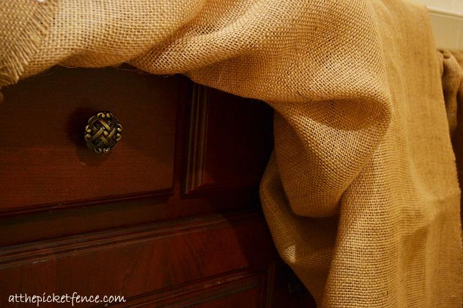 no sew burlap bathroom vanity skirt, bathroom ideas, crafts, reupholster