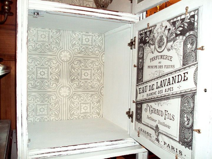 I then added this lovely french perfume graphic to the inside of the lower door.
