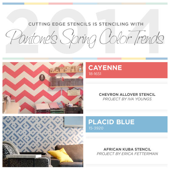 stenciling with pantone s 2014 spring color trends, bedroom ideas, home decor, painted furniture, wall decor, Cutting Edge Stencils shares stenciled spaces and home decor ideas using Pantone s 2014 Spring Color Trend report