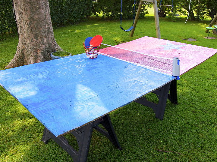I tripped over the travel ping pong net that the kids use on the dining room table on rainy days while cleaning up when it hit me. Take the game OUTSIDE!