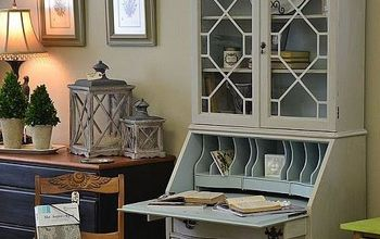 antique secretary hutch gets a facelift, painted furniture, The inside was painted in a contrasting color for interest