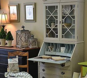 Antique Secretary Hutch Gets A Facelift, Painted Furniture, The Inside Was  Painted In A