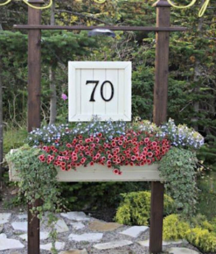 Our House Number Sign with flower box, it adds great curb appeal! http://alderberryhill.blogspot.ca/2012/07/house-number-sign.html