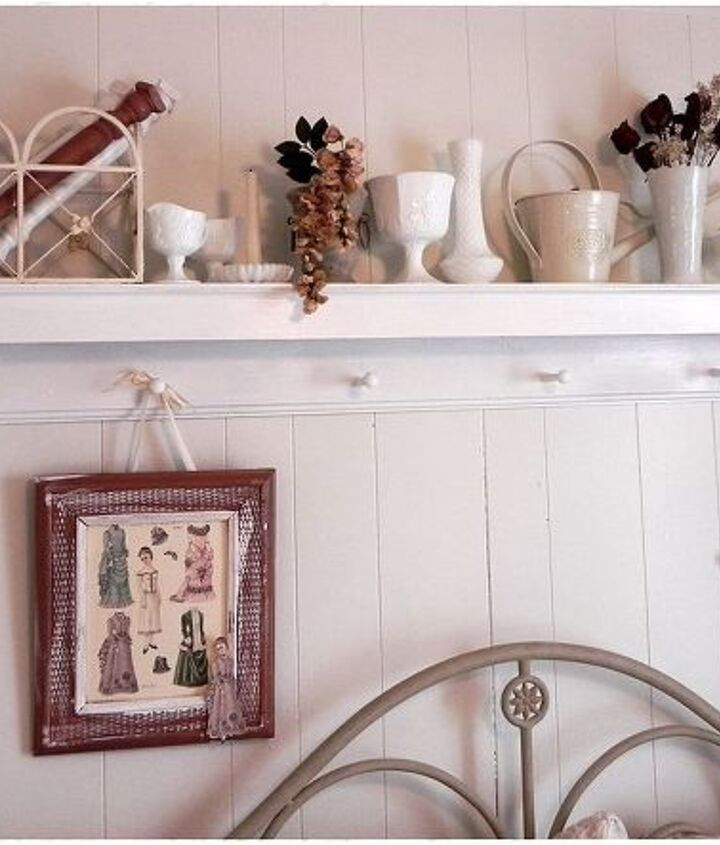 white paint over wood 70's style panel and milk glass collection