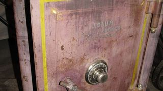 q old safe now what, painted furniture, repurposing upcycling, I have even thought about cutting off all but 4 off of the safe Leaving just enough to create a wall hanging that also still allows the door and combination lock to function thoughts