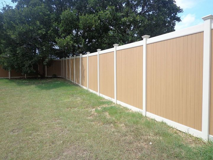 This Vinyl Privacy Fence color is called Natural Cedar.  The posts are tan.  There are so many options when it comes to vinyl fences.  Future Outdoors only installs quality vinyl products.
