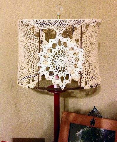 Used doilies.  I didn't have enough of the ones I liked so I stole them from my Mom's house. Well she said she didn't want them, to much moving when dusty.
