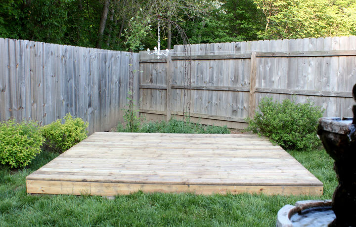 we recycled our old 10 x10 deck, for the flooring.