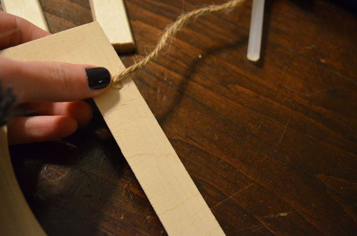 Wrap your twine around the letters and glue as you go.
