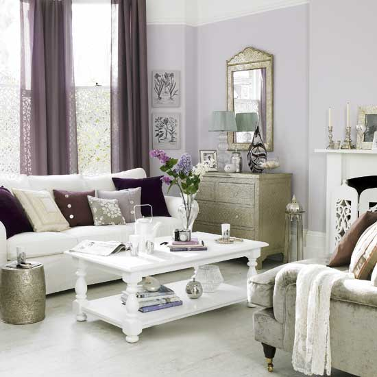 Violet grays are tricky but this pale neutral gives a traditional and feminine feel in the living room shown here.