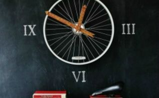 bicycle wheel clock, chalkboard paint, crafts, repurposing upcycling, I hung the bike wheel on the chalkboard wall and added roman numerals