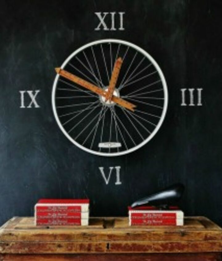 I hung the bike wheel on the chalkboard wall and added roman numerals.