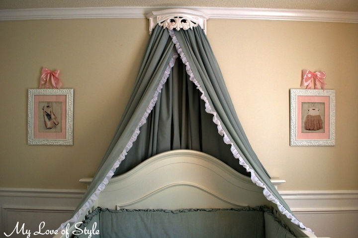 How to turn a vintage shelf and set of queen sheets into a Bed Crown and Canopy