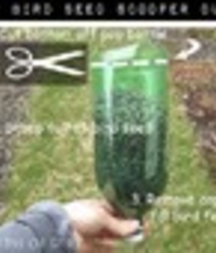 Cut the bottom off a pop/soda bottle. I used a serrated knife to start a hole and scissors to finish it off.