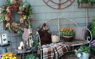 fall gardening wreath, gardening, outdoor living, seasonal holiday decor, wreaths, Fall vignette with fall wreath update