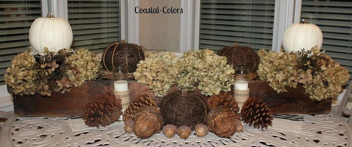 I love using natural elements, in decorating, on the porch.