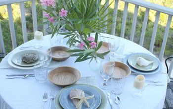nature inspired beach table setting, home decor, outdoor living