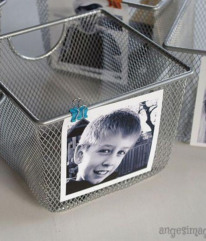 Attach each to a wire mesh storage bin with a mini binder clip.