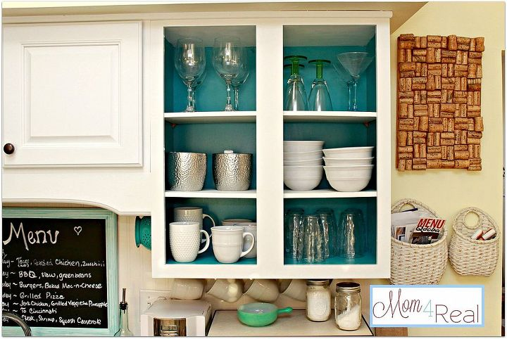 open kitchen cabinets with aqua white lime green and silver accents, home decor, kitchen design, shelving ideas