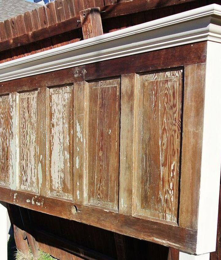90 year old door made into a king size headboard, doors, home decor, repurposing upcycling
