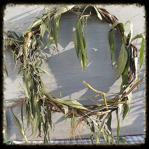 outdoor yard work led to a very cool craft you might be surprised, crafts, gardening, wreaths, After plucking the long stems I just structured a circle then began weaving the stems as I plucked them