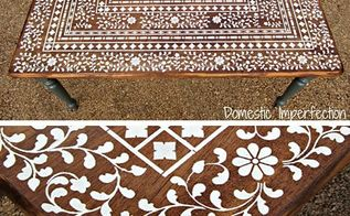 indian inlay stenciled tabletop, home decor, painted furniture, Final photos of the Indian Inlay Stenciled Table