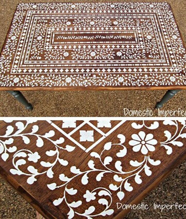 Final photos of the Indian Inlay Stenciled Table!