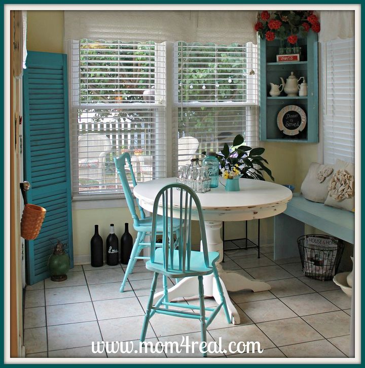 cottage breakfast nook, home decor, kitchen design, shelving ideas, Aqua white red and yellow accents all come together to give this breakfast nook the perfect cottage feel