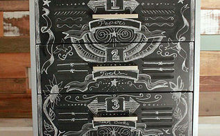 faux zinc metal cabinet makeover, chalkboard paint, crafts, kitchen cabinets, Chalked design and labels drawn onto the chalkboard painted drawers