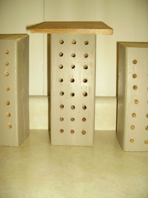 The bee houses before we added our touches