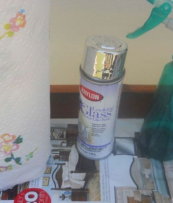 some of what you will need for this project. Krylon Looking glass spray, spray bottle with vinegar and water and good ol' paper towels
