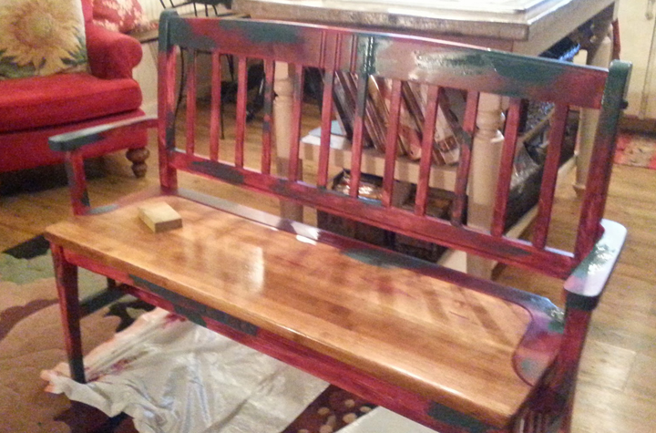 old bench into rusted iron, painted furniture