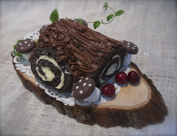 a store-bought cake roll becomes a whimsical log cake