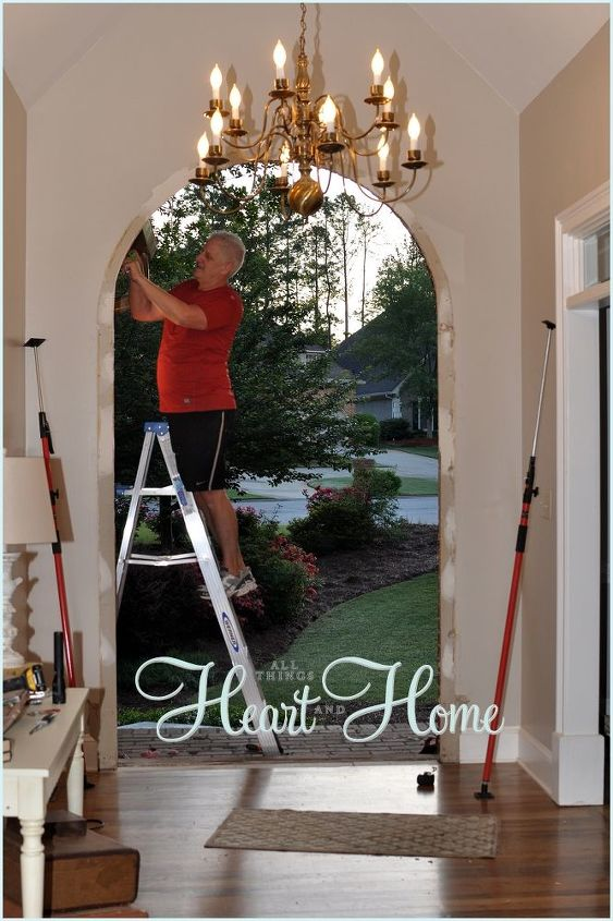 diy arched tudor door, diy, doors, how to, woodworking projects, There were a few adjustments he made to allow the door frame to fit