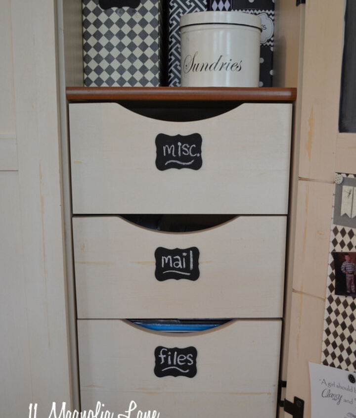 I added small wooden plaques, purchased at the craft store, to the file drawers.  I sprayed them with chalkboard paint to make labels.