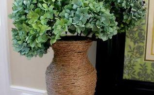 drying hydrangeas, flowers, gardening, hydrangea, Dried hydrangeas in a jute wrapped glass vase