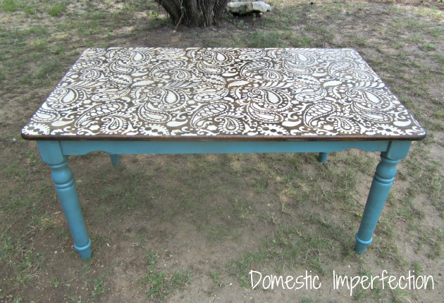 Paisley table...sand, stencil, stain, seal!