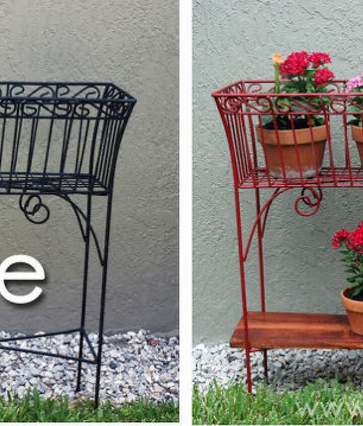 The Before & After!   See the full tutorial here: http://sewwoodsy.com/2012/08/revamped-wire-basket-plant-stands.html
